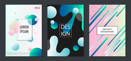 Set of colorful minimal design brochure, book covers.Universal vector background for poster, banners, flyers, card template with modern futuristic halftone gradient Ilustração