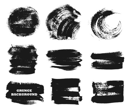 smudge: Set of black paint, ink brush strokes, brushes, lines,circles. Dirty artistic design elements, boxes, frames for text.