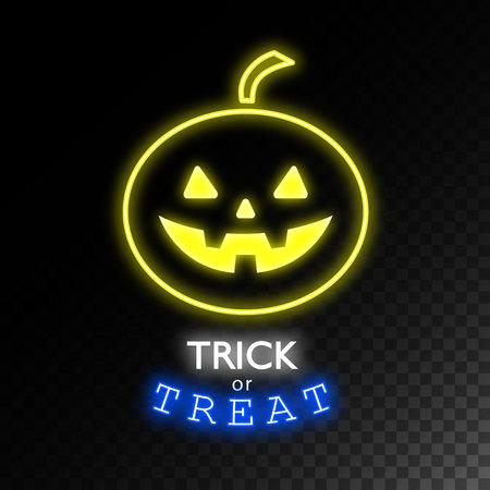 bracket: Pumpkin neon sign.Trick or treat. Halloween bright signboard, light banner. Logo, label, emblem. Vector illustration. Illustration