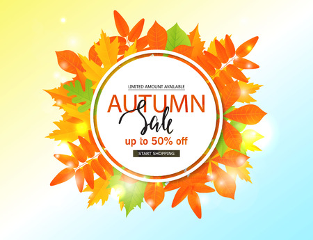 Autumn sale poster with fall leaves . Vector illustration for website and mobile website banners, posters, email and newsletter designs, ads, coupons, promotional material.