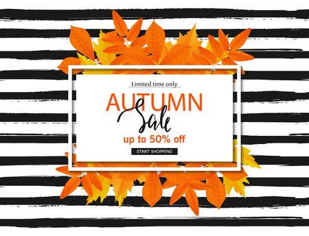 秋と秋の販売ポスターは、ストライプの背景に残します。ウェブサイトと携帯サイトのバナー、ポスター、メールやニュースレターのデザイン、広