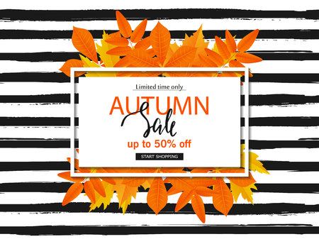 Autumn sale poster with fall leaves on striped background. Vector illustration for website and mobile website banners, posters, email and newsletter designs, ads, coupons, promotional material.