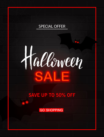 Halloween sale light banner. Modern neon billboard on brick wall. Bright signboard with bats. Illustration