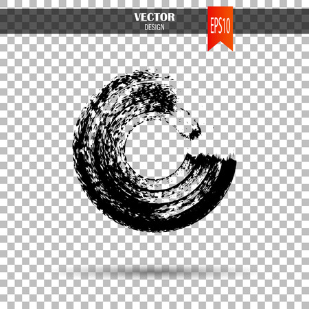 Hand drawn circle shape. Label, logo design element. Brush abstract wave. Black enso zen symbol. Template for text. Vector illustration