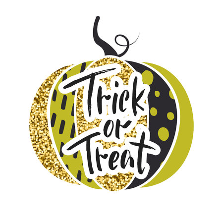 glamorous: Happy Halloween. Trick or treat. Glamorous sparkling pumpkin with gold tinsel. Vector illustration. Design for greeting cards, banners, posters,ads, coupons, promotional material