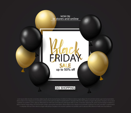 Black friday sale background with frame and gold and black balloons. Modern design.Universal vector background for poster, banners, flyers, card. Stock Illustratie