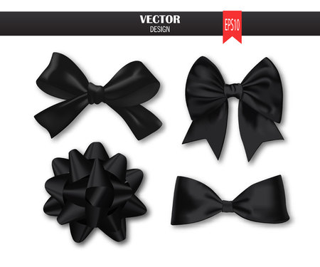 textile image: Set of black gift bows with ribbons on a white background. Illustration