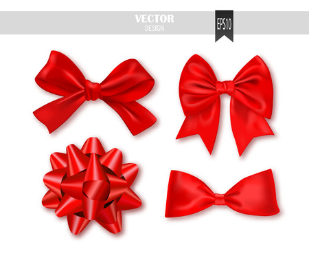 textile image: Set of red gift bows with ribbons on a white background. Illustration