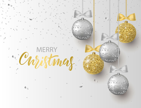 Merry Christmas and Happy New Year background for holiday greeting card, invitation, party flyer, poster, banner. Silver, gold, shiny tree balls and confetti. Vector illustration.