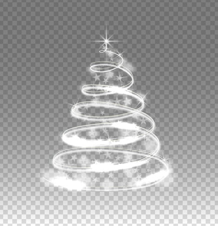 Illumination lights tree isolated on transparent background. Shiny Christmas tree from the garland.Template design. Christmas fir-tree with sparks.Vector illustration. Stock Photo