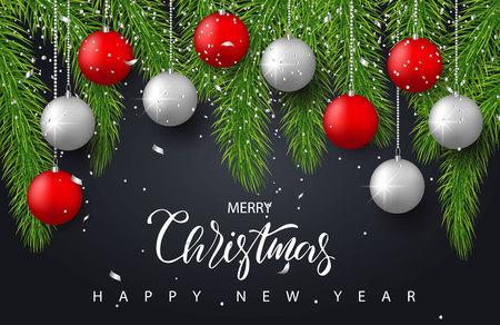 赤と銀のボール、木の枝と紙吹雪でメリー クリスマスと新年あけましておめでとうございます背景。グリーティング カード、招待状、パーティーの