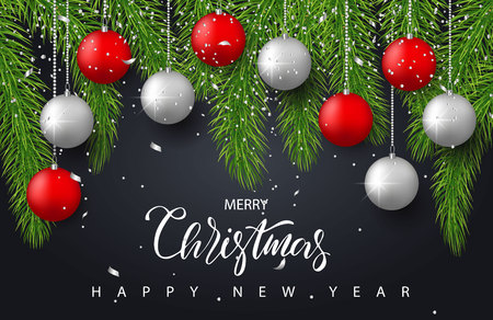 Merry Christmas and Happy New Year background with red and silver balls,tree branches and confetti. Holiday greeting card, invitation, party flyer, poster, banner. Vector illustration