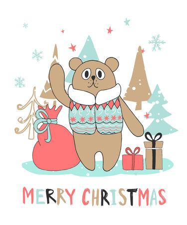postcard box: Cute Christmas greeting card with bear. Vector illustration Illustration