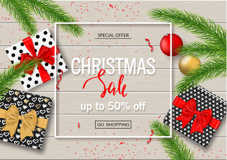 Christmas sale poster with gift boxes, serpentine, balls and tree branches on wooden backgrounds. Vector illustration for website and banners, posters, ads, coupons, promotional material