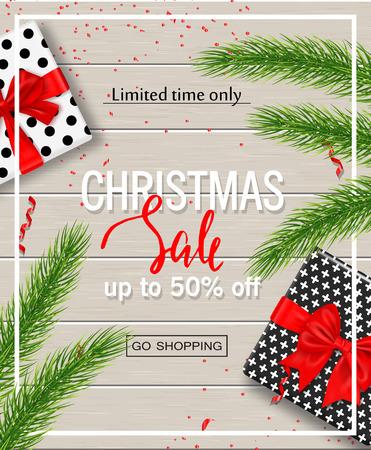 ギフト用の箱のクリスマス販売ポスター、木製の背景に蛇紋岩と木の枝。ウェブサイト、バナー、ポスター、広告、クーポン、プロモーション素材