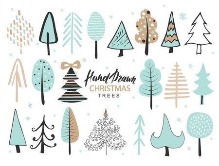 Set of hand drawn christmas tree. Holiday decoration isolated elements. Vector illustration Illustration
