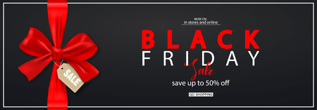 Black Friday Horizontal Banner with red bow. Vector Illustration. Modern design.Universal vector background for poster, banners, flyers, card