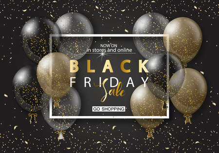 Black friday sale background with frame and transparent realistic balloons. Modern design.Universal vector background for poster, banners, flyers, card