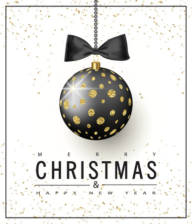 Ornate Christmas ball with gold glitter and black bow on a white background. Christmas greeting card .Vector illustration.