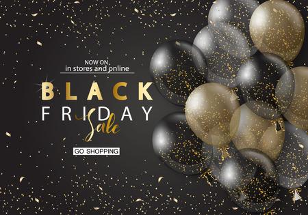 Sfondo di vendita venerdì nero con palloncini realistici trasparenti. Design moderno. Priorità bassa di vettore universale per poster, banner, volantini, carta