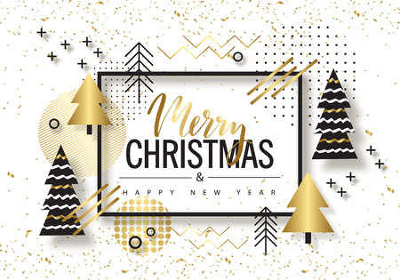 Merry Christmas and Happy New Year. Trendy background with Golden trees and geometric designs . Poster, card, label, banner design. Vector illustration.