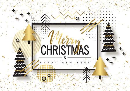 Feliz Natal e Feliz Ano Novo. Fundo na moda com árvores douradas e desenhos geométricos. Cartaz, cartão, etiqueta, banner design. Ilustração vetorial