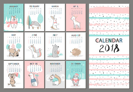 Monthly Creative Calendar 2018 With Cute Animals Concept Vector