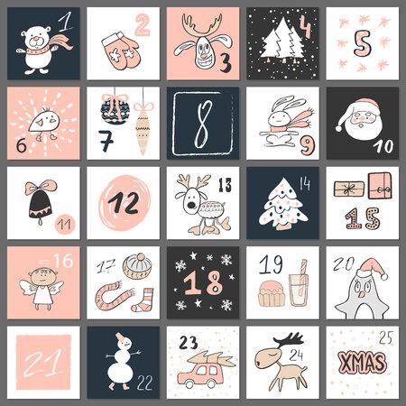Christmas advent calendar, hand drawn style. Vector illustration