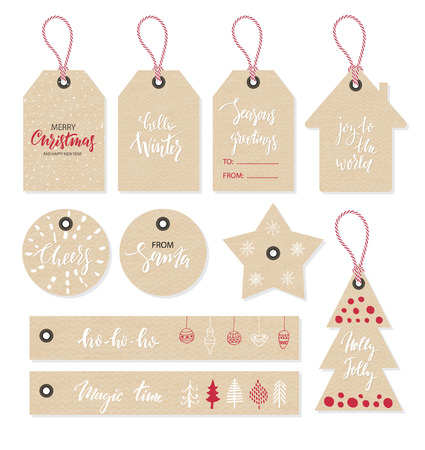 Christmas tags set, hand drawn style. Vector illustration
