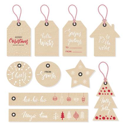 I tag di Natale impostati, stile disegnato a mano. Illustrazione vettoriale