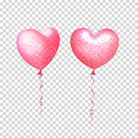 Party decorations for birthday, anniversary, celebration. Inflatable air flying balloons in form of hearts with confetti. Isolated and transparent with glass shine. Vector illustration.