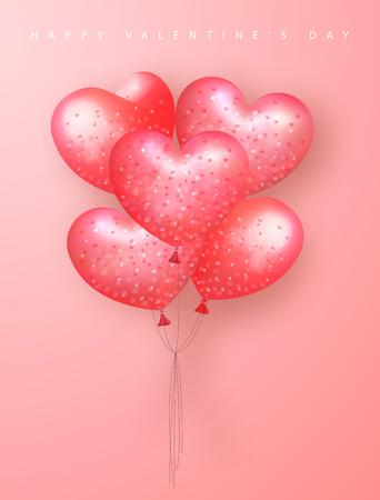 Happy Valentijnsdag feestelijke kaart. Mooie achtergrond met hartvormige luchtballonnen. Vector illustratie