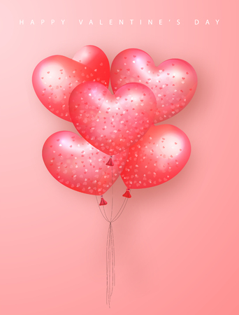 Happy Valentines Day Festive Card. Beautiful Background with heart shaped air balloons. Vector Illustration. Illustration