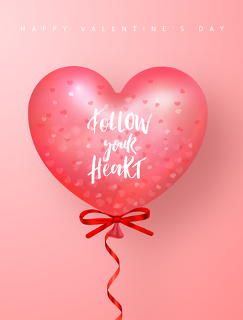 Happy Valentines Day Festive Card. Beautiful Background with heart shaped air balloon. Vector Illustration