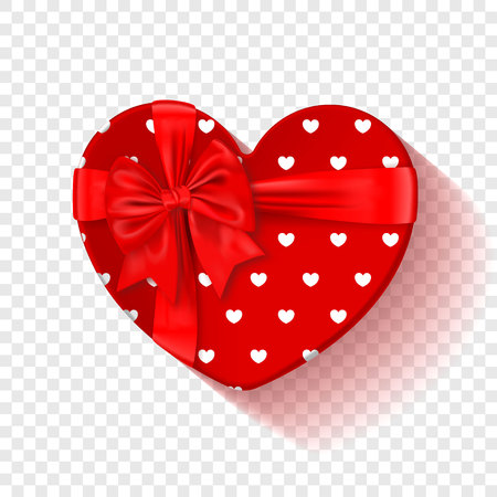 Red gift box for Valentines Day. Heart box with red pattern and bow . Isolated on a transparent background. Graphic element for your design. Vector illustration