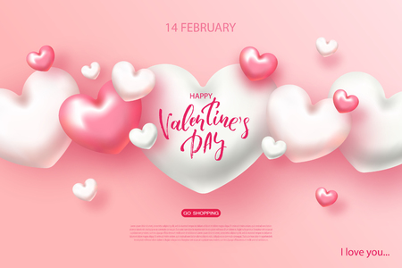 Happy Valentines day banner. Beautiful Background with Hearts. Vector illustration for website , posters, email and newsletter designs, ads, coupons, promotional material