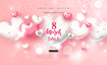 8 march Happy Women's day sale banner. Beautiful Background with hearts. Vector illustration for website , posters, ads, coupons, promotional material