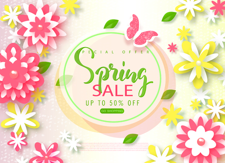 Spring sale banner. Beautiful Background with paper flowers and butterfly. Vector illustration for website , posters, email and newsletter designs, ads, coupons, promotional material