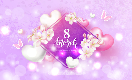 8 March Happy Womens Day Festive Card. Beautiful Background with flowers, hearts and butterflies. Vector Illustration.