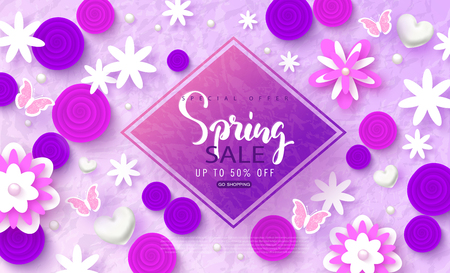Spring sale banner. Beautiful Background with flowers and butterflies. Vector illustration for website , posters, email and newsletter designs, ads, coupons, promotional material.