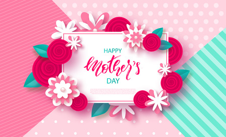 Happy Mothers Day banner. Beautiful Background with flowers. Vector Illustration.