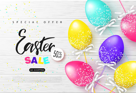 Happy Easter sale banner.Background with beautiful colorful eggs on wooden texture. Vector illustration for posters, coupons, promotional material