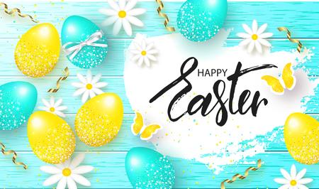 Fondo feliz de Pascua con huevos coloridos, flores y serpentina en textura de madera. Búsqueda de huevos. Ilustración vectorial Diseño de invitación, tarjeta, menú, pancarta, póster, cupón Ilustración de vector