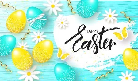 Happy Easter background with colorful eggs,flowers and serpentine on wooden texture. Egg hunt. Vector illustration. Design layout for invitation, card, menu, banner, poster, voucher Vectores