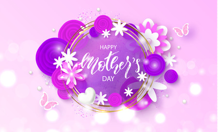 Happy Mothers Day - banner. Beautiful Background with flowers and butterflies. Vector Illustration.