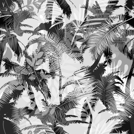 Trendy seamless exotic pattern with palm and tropical plants. Modern abstract design for paper, wallpaper, cover, fabric and other users. Vector illustration.