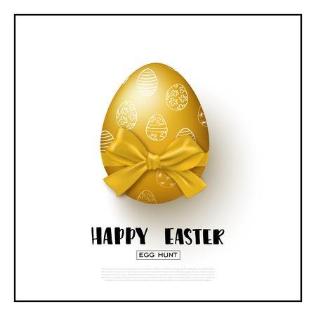 Gelukkige Pasen-achtergrond met realistische gouden ei en boog. Vector illustratie Ontwerplay-out voor uitnodiging, kaart, banner, poster, waardebon.