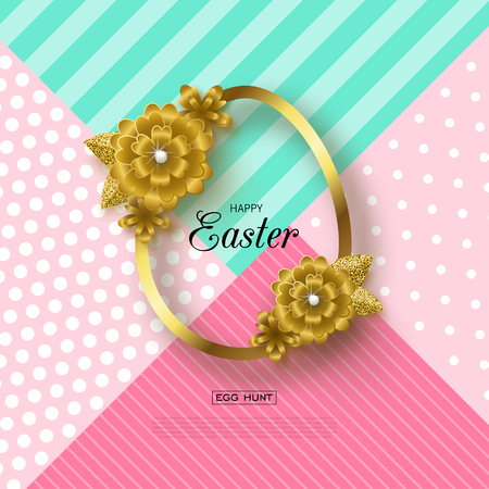 Happy Easter background with Golden frame and flowers. Design layout for invitation, card, banner, poster, voucher. Vector illustration.