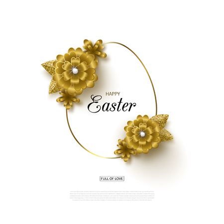 Happy Easter background with Golden frame and flowers