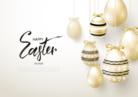 Happy Easter background with realistic golden shine decorated eggs. Illustration